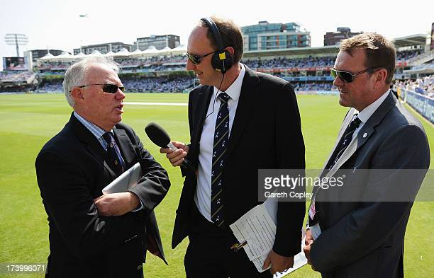 Jonathan Agnew and Phil Tufnell from BBC Test Match Special talk to Australian commentator Jim Maxwell during day one of the 2nd Investec Ashes Test...