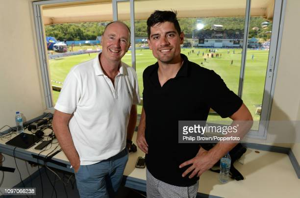 Jonathan Agnew and Sir Alastair Cook of BBC Test Match Special pose before the second day of the third test match between the West Indies and England...