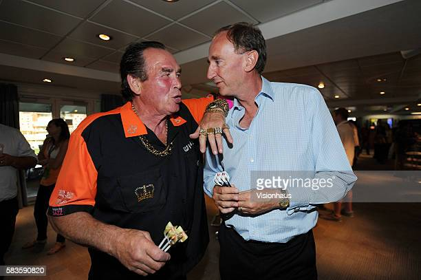 Jonathan Agnew from BBC's Test Match Special meets darts legend Bobby George at the Investec Late Session media party during Day One of the 5th...