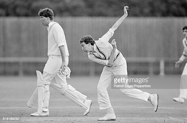 Jonathan Agnew of Leicestershire bowling during a match between Cambridge University and Leicestershire at Fenner's Cambridge 23rd April 1980 Derek...