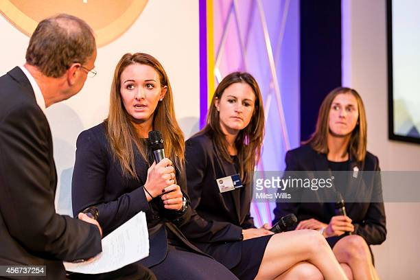 Jonathan Agnew talks to Kate Cross during the NatWest OSCAs at Lords on October 6 2014 in London England