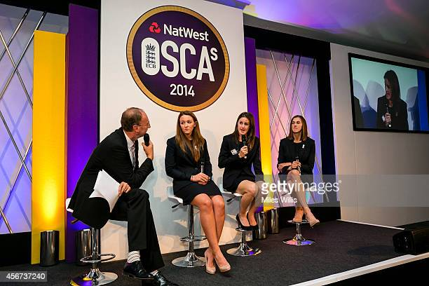 Jonathan Agnew talks to Kate Cross Lydia Greeway and Jenny Gunn during the NatWest OSCAs at Lords on October 6 2014 in London England