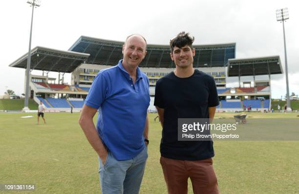 Jonathan Agnew with Sir Alastair Cook during a training session at the Sir Vivian Richards Stadium before the second Test match between the West...