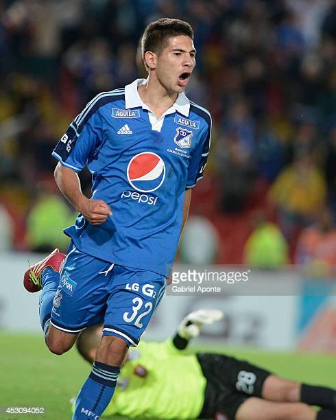 Jonathan Agudelo of Millonarios celebrates a goal during the match between Millonarios and Chico as part of Liga Postobon 2014 II at Nemesio Camacho...