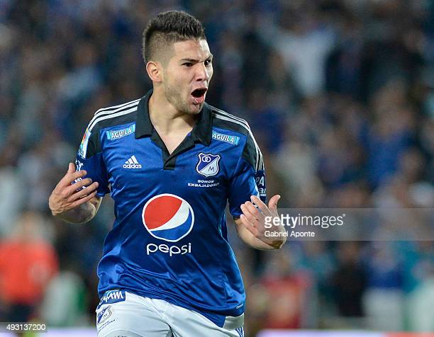 Jonathan Agudelo of Millonarios celebrates after scoring the second goal of his team during a match between Millonarios and Jaguares FC as part of...