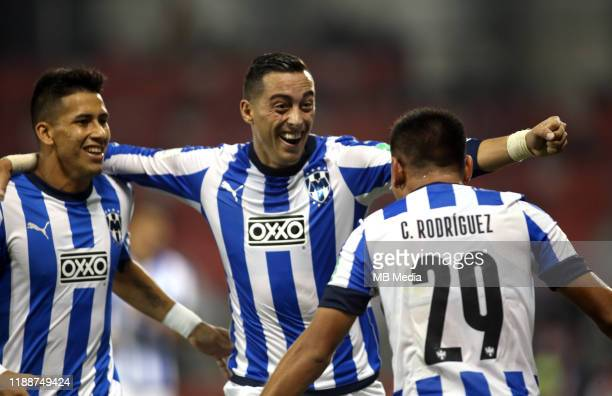 Jonathan Alexander GONZALEZ of Monterrey celebrates after his goal 31 with his team mates Rogelio FUNES MORI and Maxi MEZA during the FIFA Club World...