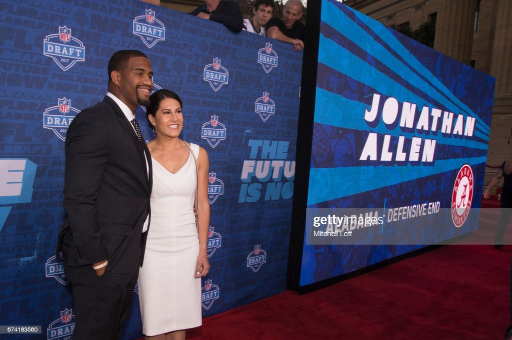 Jonathan Allen of Alabama poses for a picture with his fiance Hannah Franklin on the red carpet prior to the start of the 2017 NFL Draft on April 27, 2017 in Philadelphia, Pennsylvania.