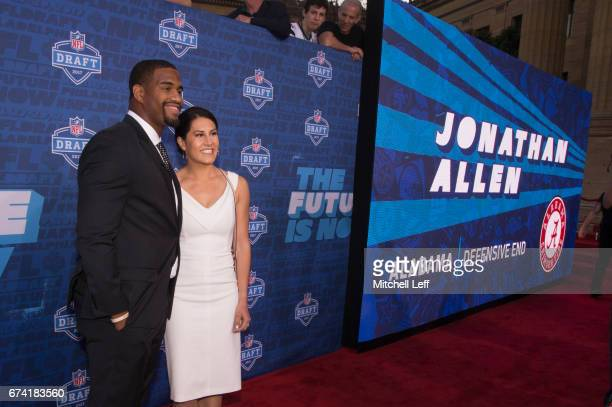 Jonathan Allen of Alabama poses for a picture with his fiance Hannah Franklin on the red carpet prior to the start of the 2017 NFL Draft on April 27...