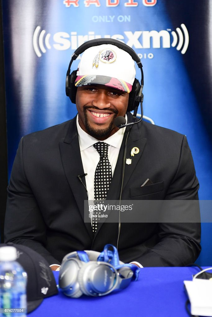 Jonathan Allen of Alabama visits the SiriusXM NFL Radio talkshow after being picked #17 overall by the Washington Redskins during the first round of 2017 NFL Draft at Philadelphia Museum of Art on April 27, 2017 in Philadelphia, Pennsylvania.