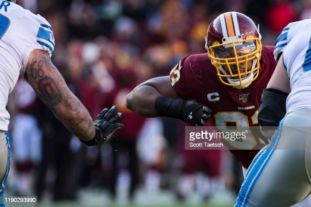 Jonathan Allen of the Washington Redskins in action against the Detroit Lions during the second half at FedExField on November 24, 2019 in Landover,...