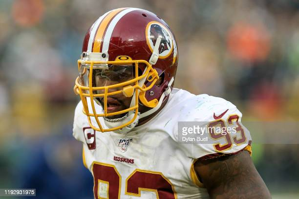 Jonathan Allen of the Washington Redskins jogs off the field after losing to the Green Bay Packers 20-15 at Lambeau Field on December 08, 2019 in...