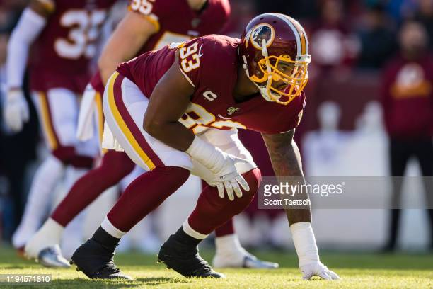 Jonathan Allen of the Washington Redskins lines up against the Philadelphia Eagles during the first half at FedExField on December 15, 2019 in...