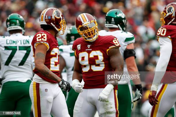 Jonathan Allen of the Washington Redskins reacts after a play against the New York Jets during the first half at FedExField on November 17, 2019 in...
