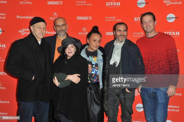 Jonathan Ames Jim Wilson Lynne Ramsay Rosa Attab Joaquin Phoenix and Trevor Groth attend the 'You Were Never Really Here' Premiere during the 2018...