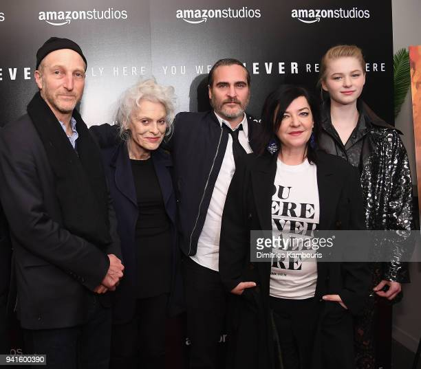 Jonathan Ames Judith Roberts Joaquin Phoenix director Lynne Ramsay and Ekaterina Samsonov attend You Were Never Really Here New York Premiere at...