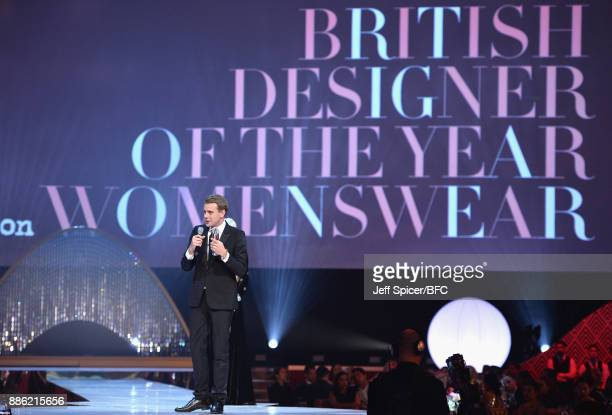 Jonathan Anderson winner of the British Designer of the Year Womenswear award on stage during The Fashion Awards 2017 in partnership with Swarovski...