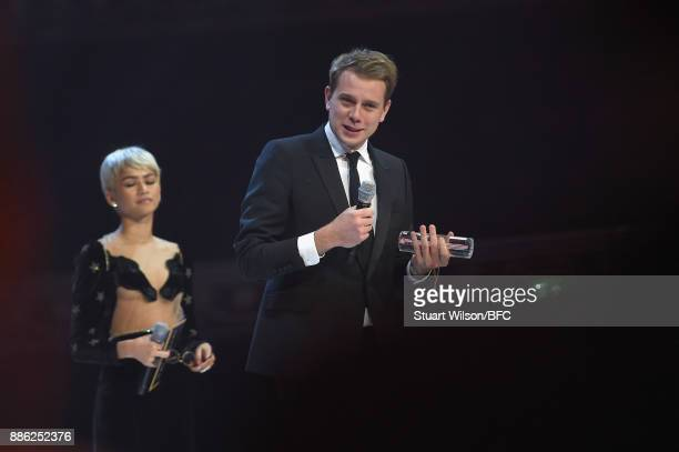 Jonathan Anderson winner of the British Designer of the Year Womenswear award and Zendaya on stage during The Fashion Awards 2017 in partnership with...