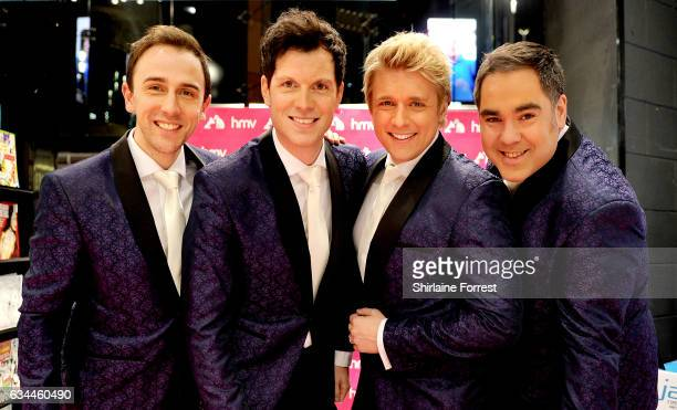 Jonathan Ansell Ben Thapa Mike Christie and Nick Ashby of G4 with surprise guest Merrill Osmond perform and sign copies of their new album 'Love...