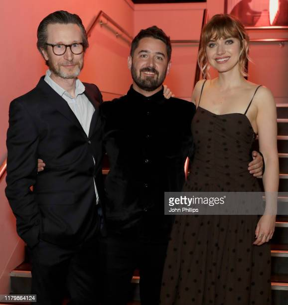 Jonathan Aris director Lorcan Finnegan and Imogen Poots attend the Vivarium European Premiere during the 63rd BFI London Film Festival at the Curzon...