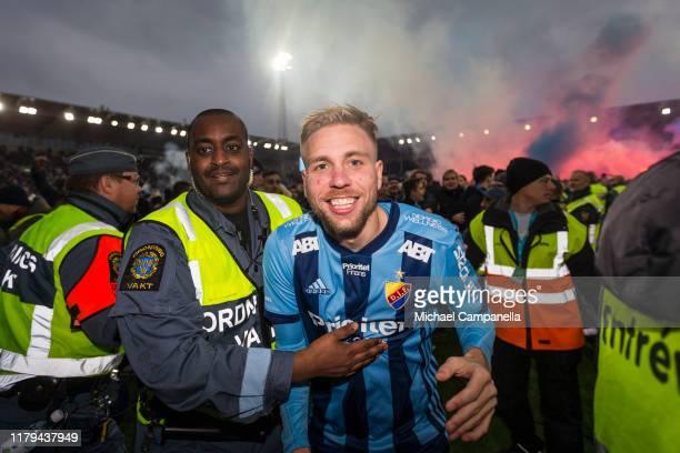 Jonathan Augustinsson of Djurgardens IF reacts after winning the 2019 Allsvenskan season during an Allsvenskan match between IFK Norrkoping and...