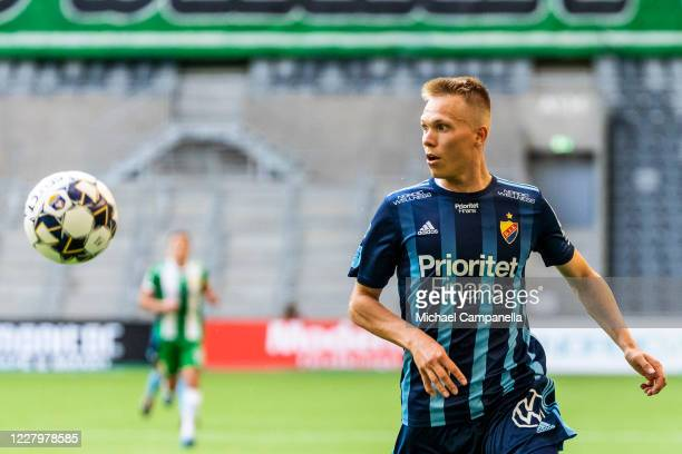 Jonathan Augustinsson of Djurgardens IF runs after the ball during the Allsvenskan match between Djurgardens IF and Hammarby IF at Tele2 Arena on...