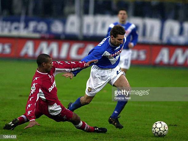 Jonathan Bachini of Brescia and Ze Maris Jose of Perugia during a SERIE A 14th Round League match between Brescia and Perugia played at the Mario...