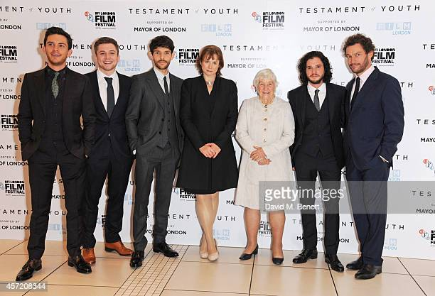 Jonathan Bailey Taron Egerton Colin Morgan Emily Watson Dame Shirley Williams Kit Harington and Dominic West attend a screening of Testament of Youth...