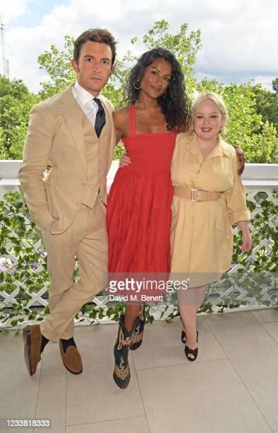 Jonathan Bailey, wearing Polo Ralph Lauren, Simone Ashley, wearing Polo Ralph Lauren, and Nicola Coughlan, wearing Ralph Lauren, attend the Polo...