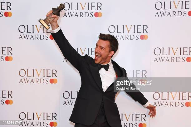 Jonathan Bailey winner of the Best Actor In A Supporting Role In A Musical award for Company poses in the press room at The Olivier Awards 2019 with...