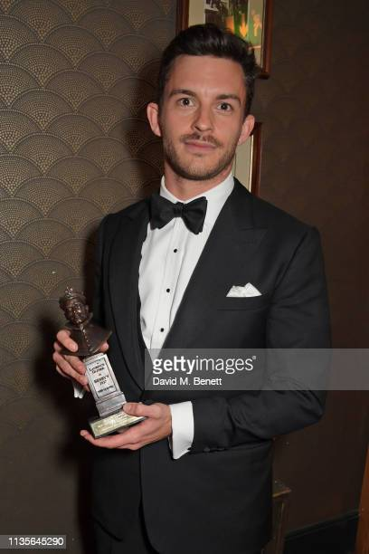Jonathan Bailey winner of the Best Actor In A Supporting Role In A Musical award for Company attends The Olivier Awards 2019 with Mastercard at The...