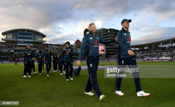 Jonathan Bairstow and Alex Hales of England lead their team from the field after winning the 3rd Royal London ODI match between England and Australia...