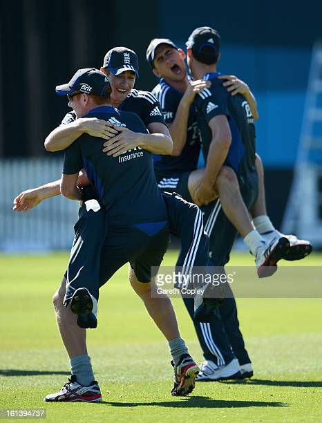 Jonathan Bairstow and Chris Woakes of England warm up ahead of an England nets session on February 11 2013 in Hamilton New Zealand