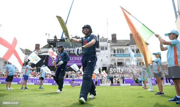 Jonathan Bairstow and Jason Roy of England walk out ahead of the Royal London OneDay match between England and India at Trent Bridge on July 12 2018...