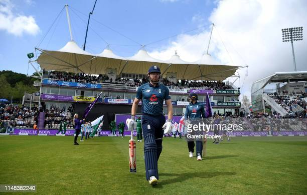 Jonathan Bairstow and Jason Roy of England walk out to bat ahead of the Second One Day International between England and Pakistan at The Ageas Bowl...