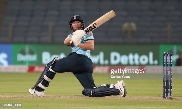 Jonathan Bairstow of England bats during 1st One Day International between India and England at MCA Stadium on March 23, 2021 in Pune, India.