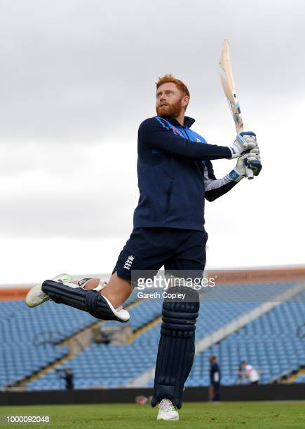 England captain Eoin Morgan speaks with coach Trevor Bayliss during a net session at Headingley on July 16 2018 in Leeds England