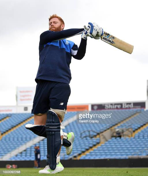 Jonathan Bairstow of England bats during a net session at Headingley on July 16 2018 in Leeds England