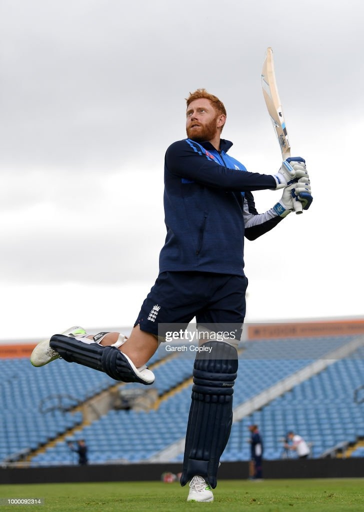 Jonathan Bairstow of England bats during a net session at Headingley on July 16, 2018 in Leeds, England.