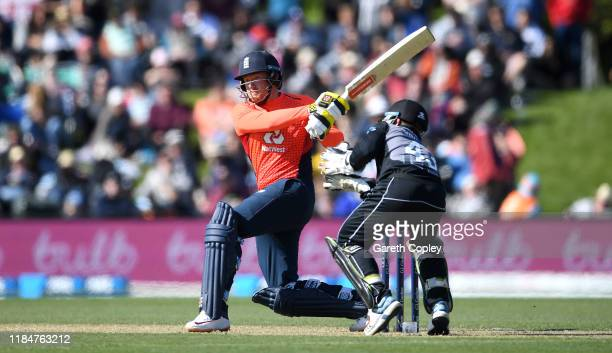 Jonathan Bairstow of England bats during game one of the Twenty20 International series between New Zealand and England at Hagley Oval on November 01,...