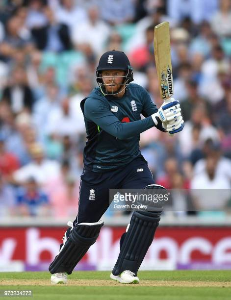 Jonathan Bairstow of England bats during the 1st Royal London ODI match between England and Australia at The Kia Oval on June 13 2018 in London...