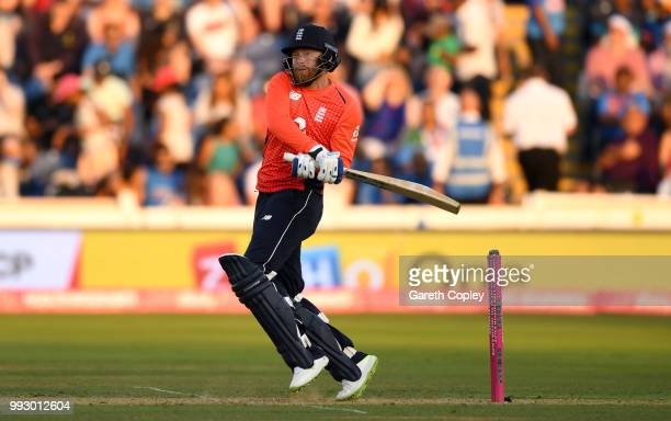 Jonathan Bairstow of England bats during the 2nd Vitality International T20 match between England and India at SWALEC Stadium on July 6 2018 in...