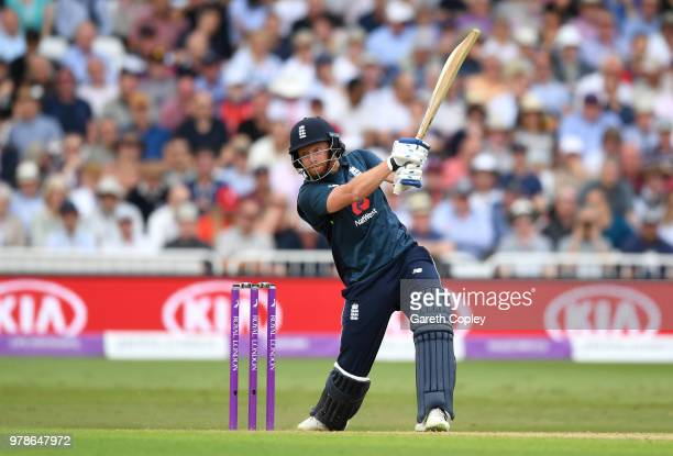 Jonathan Bairstow of England bats during the 3rd Royal London ODI match between England and Australia at Trent Bridge on June 19 2018 in Nottingham...
