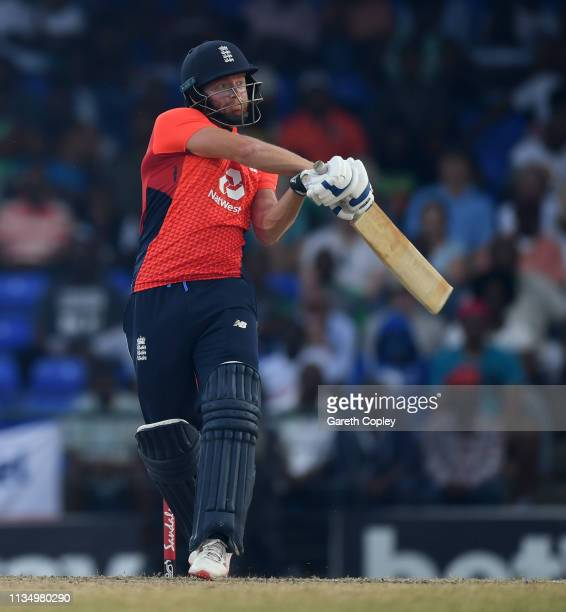 Jonathan Bairstow of England bats during the 3rd Twenty20 International match between England and West Indies at Warner Park on March 10 2019 in...