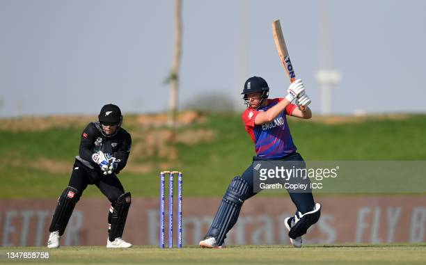 Jonathan Bairstow of England bats during the England and New Zealand warm Up Match prior to the ICC Men's T20 World Cup at on October 20, 2021 in Abu...