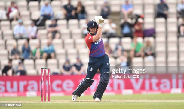 Jonathan Bairstow of England bats during the T20 International Series Third T20I match between England and Sri Lanka at Ageas Bowl on June 26, 2021...
