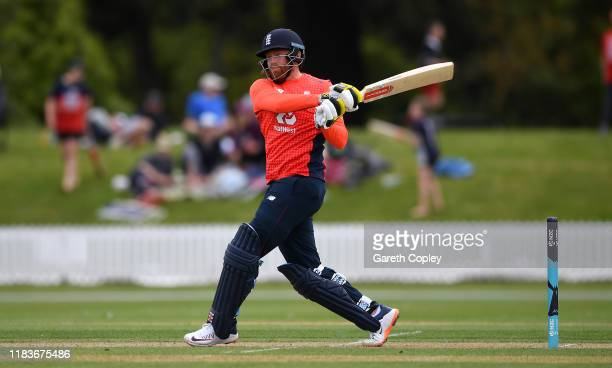 Jonathan Bairstow of England bats during the tour match between New Zealand XI and England at Bert Sutcliffe Oval on October 27, 2019 in Lincoln, New...