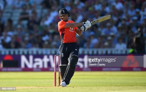 Jonathan Bairstow of England bats during the Vitality International T20 between England and Australia at Edgbaston on June 27 2018 in Birmingham...