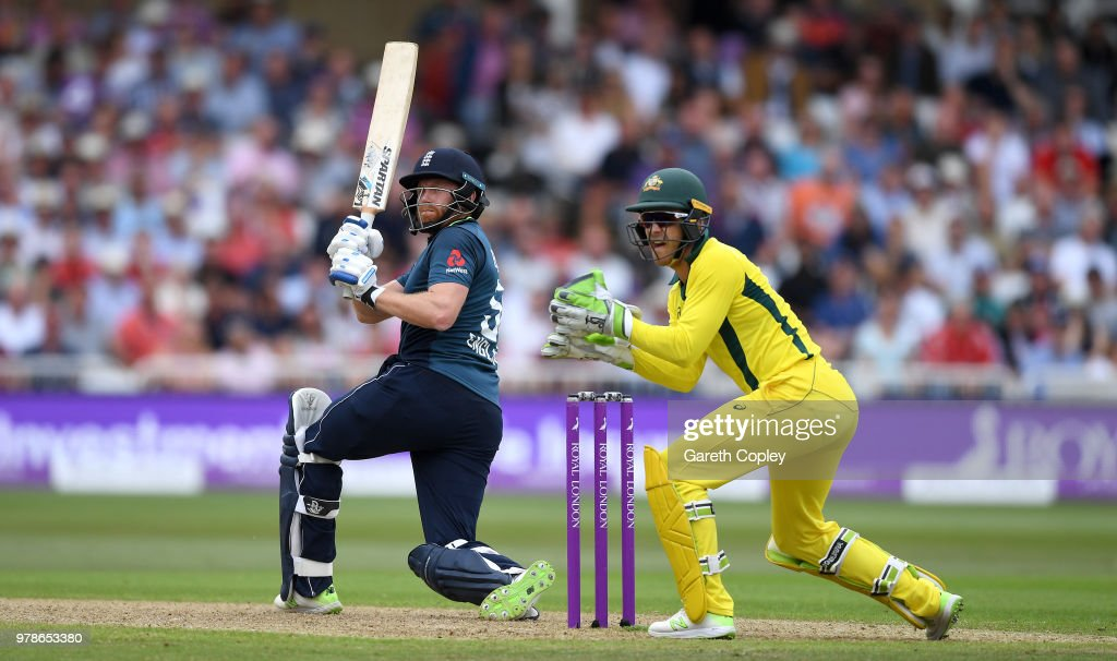 Jonathan Bairstow of England bats watched by Australia wicketkeeper Tim Paine during the 3rd Royal London ODI match between England and Australia at Trent Bridge on June 19, 2018 in Nottingham, England.