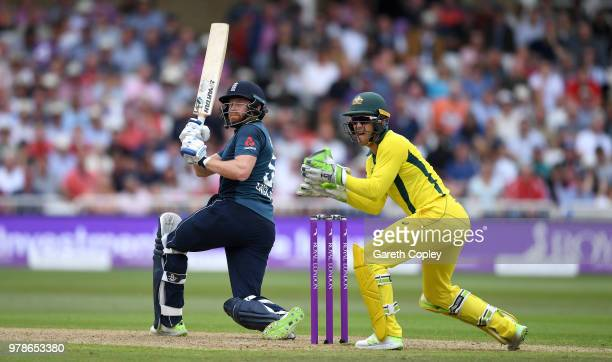 Jonathan Bairstow of England bats watched by Australia wicketkeeper Tim Paine during the 3rd Royal London ODI match between England and Australia at...