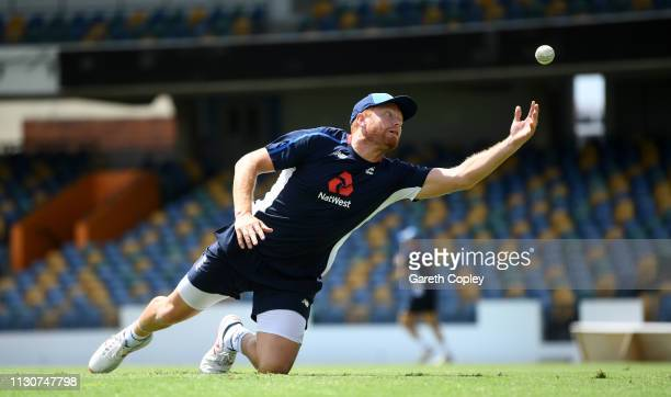 Jonathan Bairstow of England catches during a net session at The Kensington Oval on February 19 2019 in Bridgetown Barbados